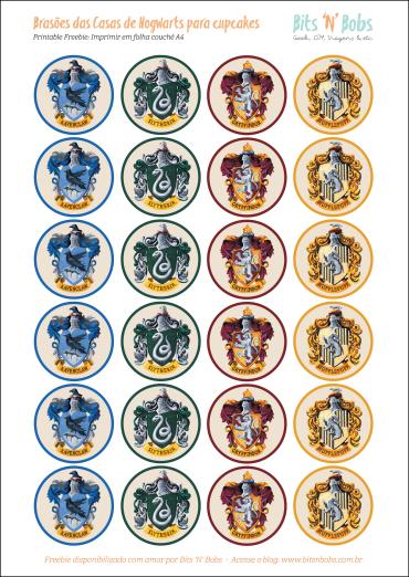 Toppers para cupcake - Casas de Hogwarts